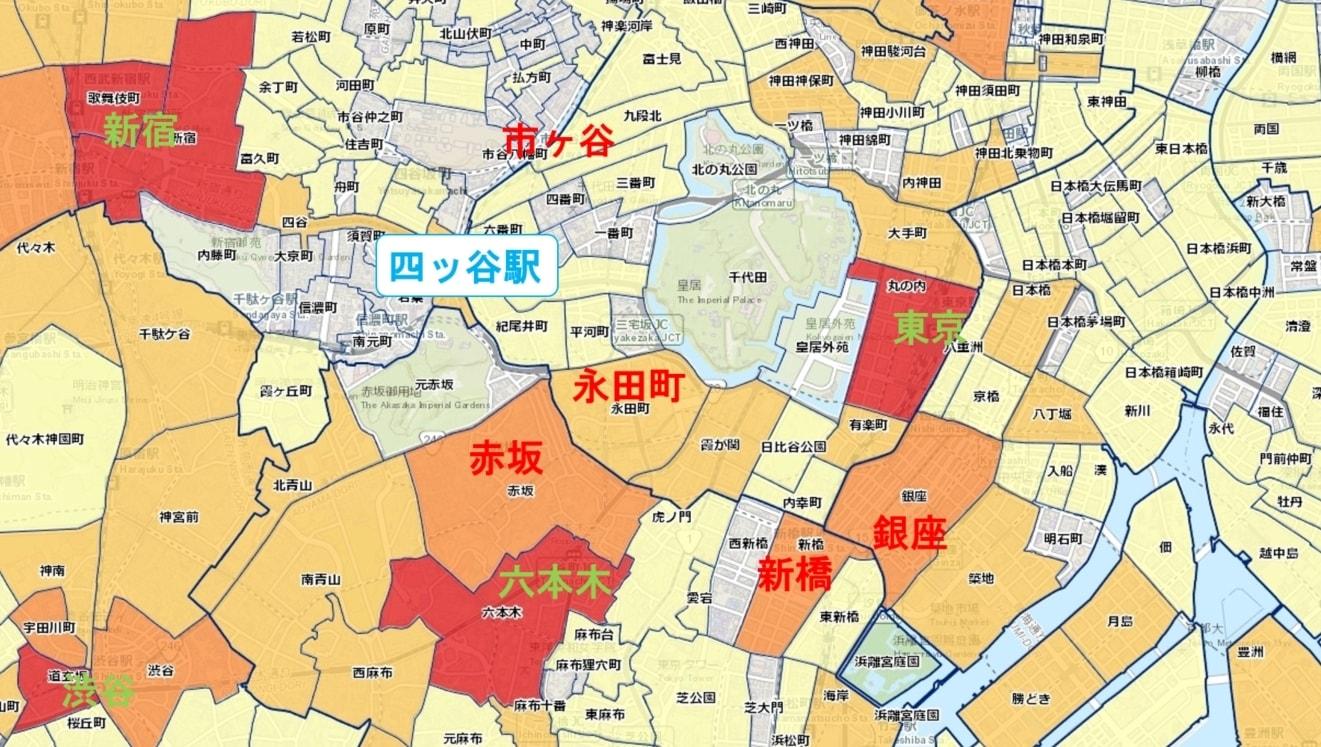 周辺駅との犯罪件数の比較マップ