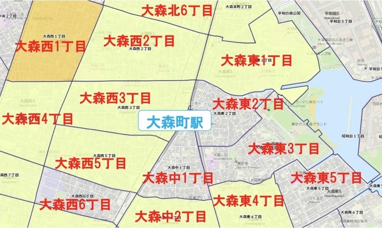 大森町駅周辺の粗暴犯の犯罪件数マップ
