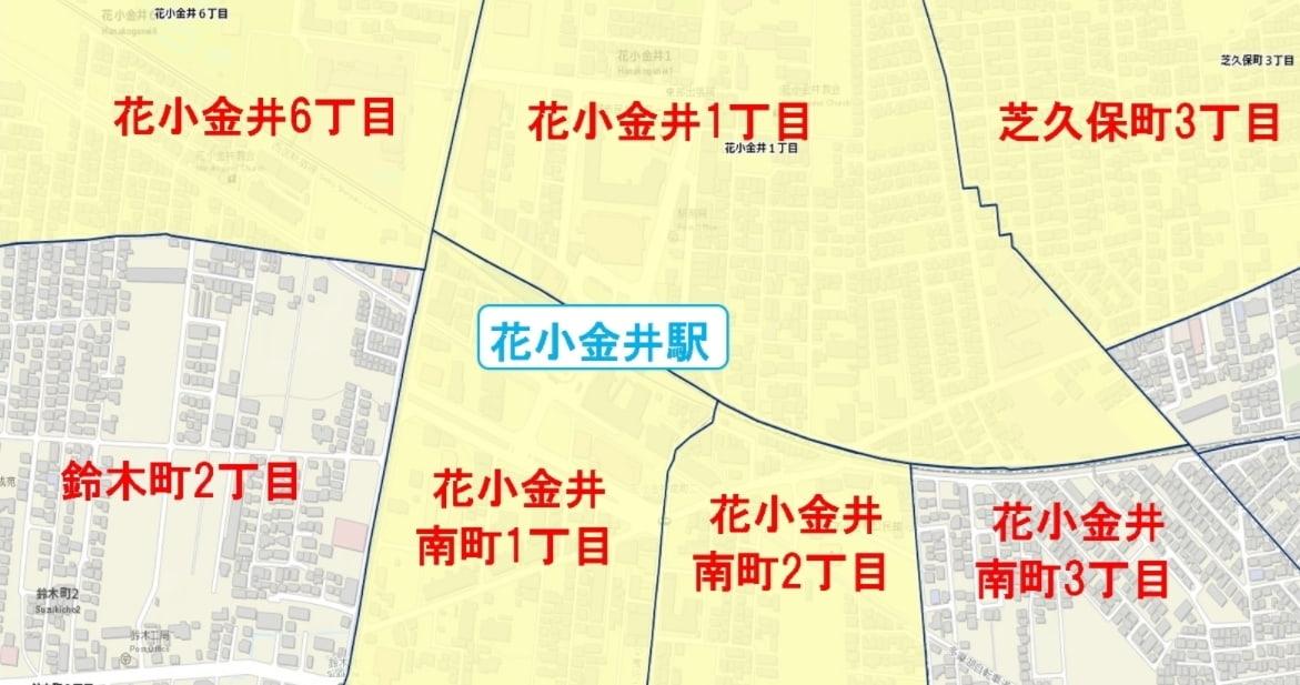 花小金井駅周辺の粗暴犯の犯罪件数マップ