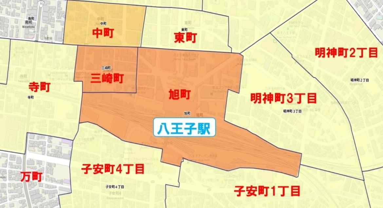 八王子駅周辺の粗暴犯の犯罪件数マップ