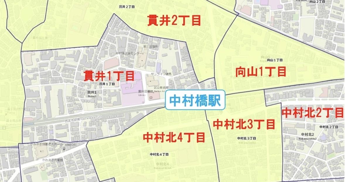 中村橋駅周辺の粗暴犯の犯罪件数マップ