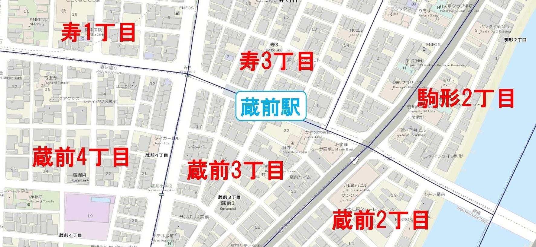 蔵前駅周辺の粗暴犯の犯罪件数マップ