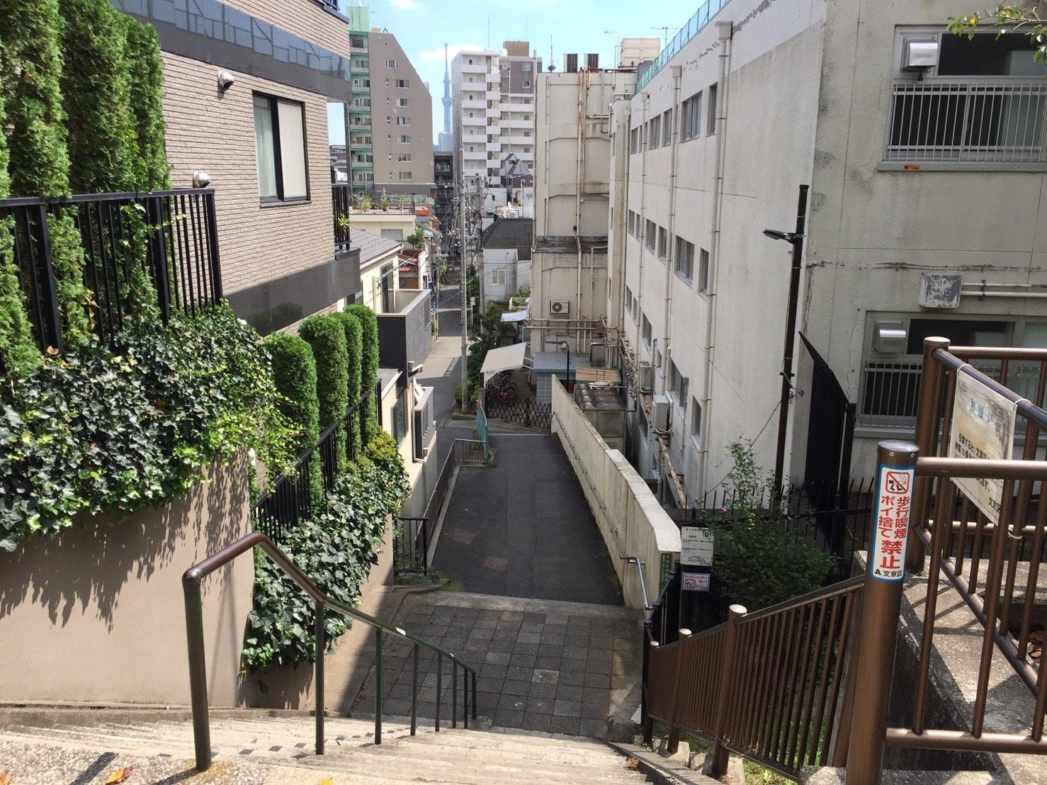 千駄木駅周辺は坂が多い