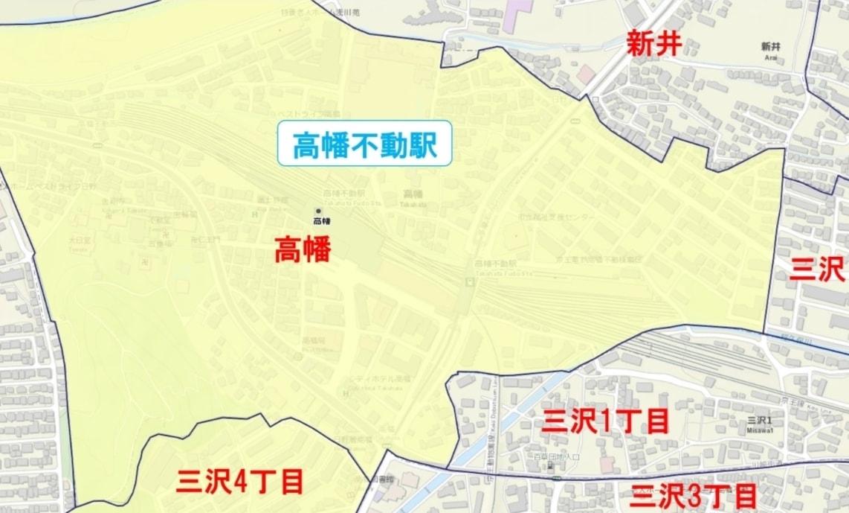 高幡不動駅周辺の粗暴犯の犯罪件数マップ