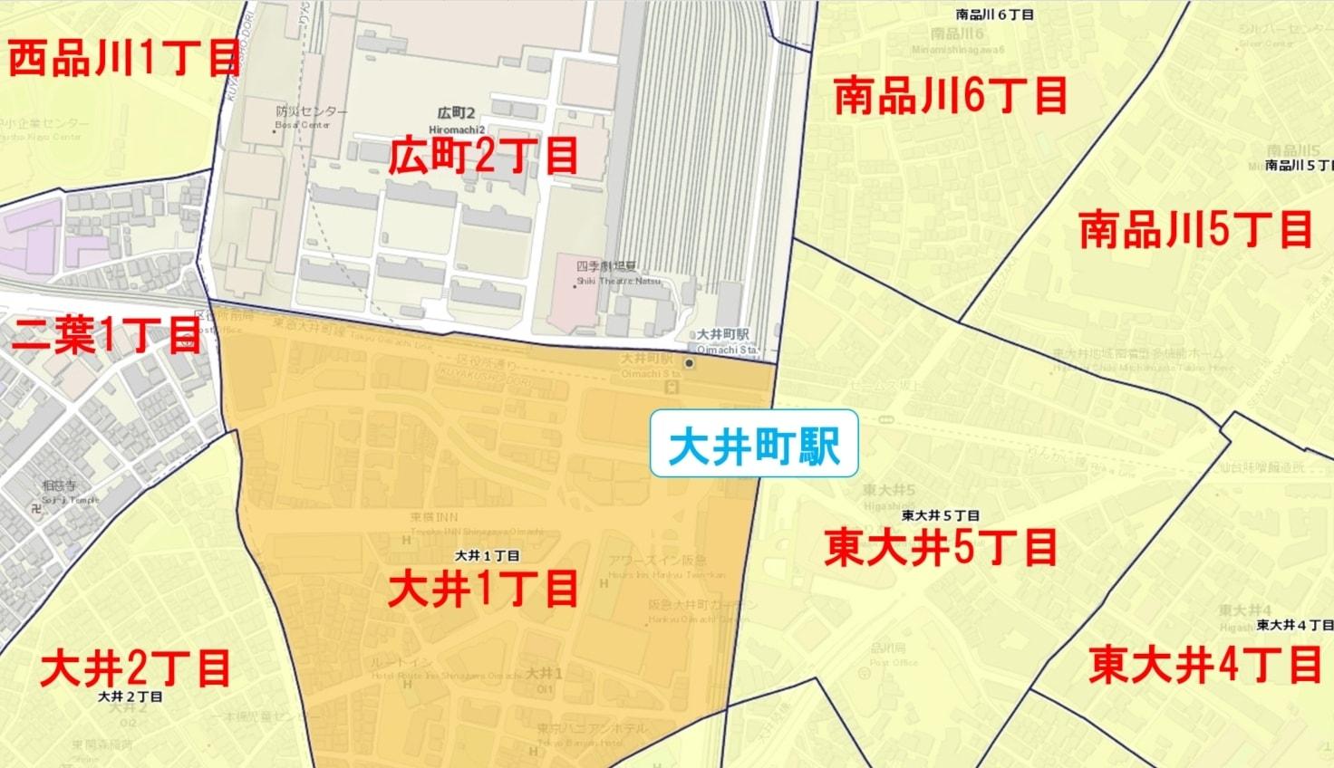 大井町駅周辺の粗暴犯の犯罪件数マップ