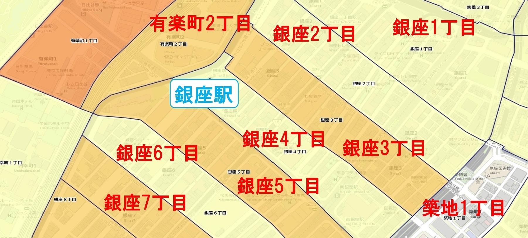 銀座駅周辺の粗暴犯の犯罪件数マップ