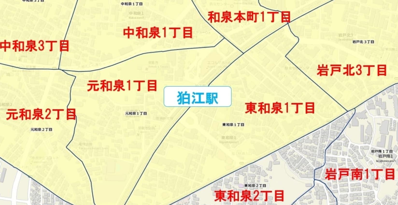 狛江駅周辺の粗暴犯の犯罪件数マップ