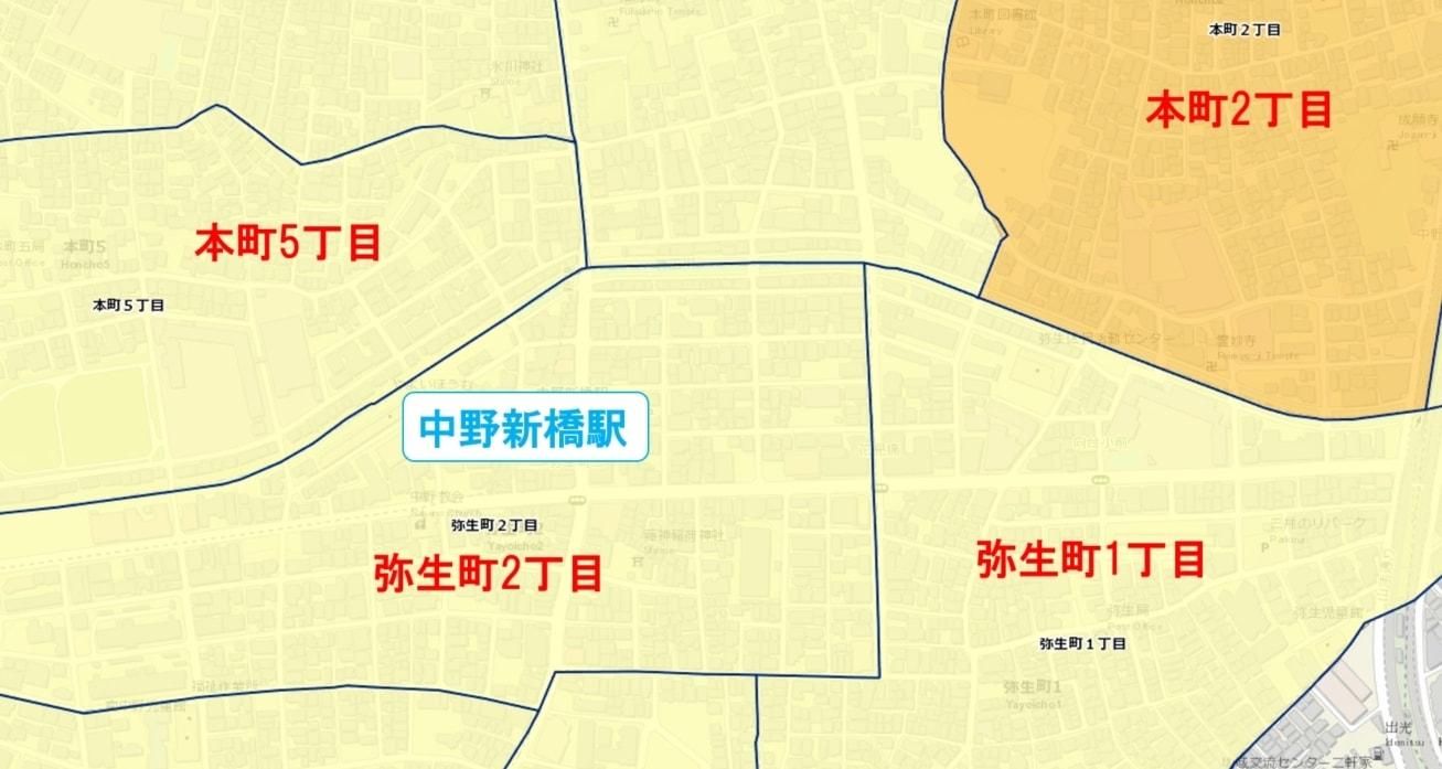中野新橋駅周辺の粗暴犯の犯罪件数マップ