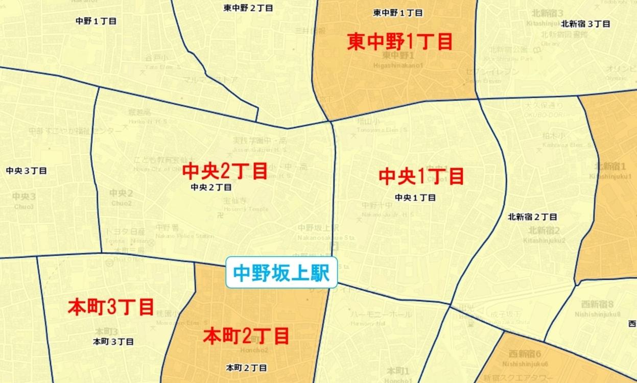 中野坂上駅周辺の粗暴犯の犯罪件数マップ