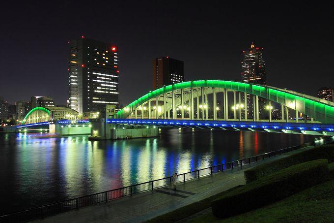 ライトアップされた勝鬨橋