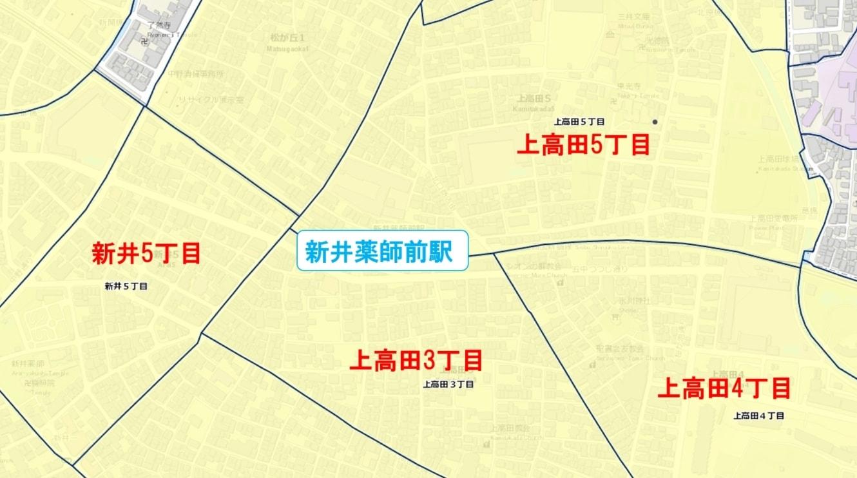 新井薬師前駅周辺の粗暴犯の犯罪件数マップ