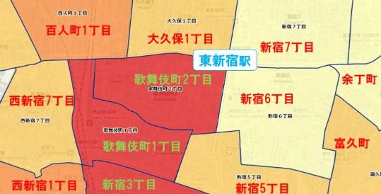 東新宿駅周辺の粗暴犯の犯罪件数マップ
