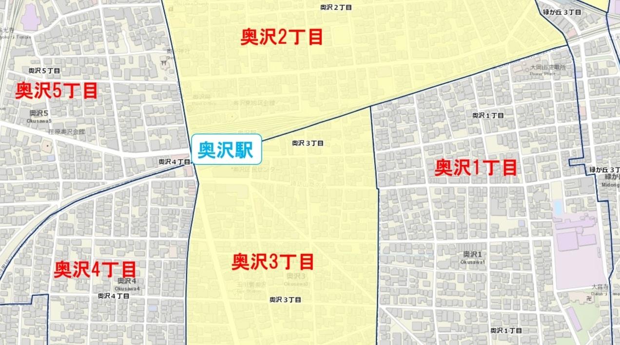 奥沢駅周辺の粗暴犯の犯罪件数マップ