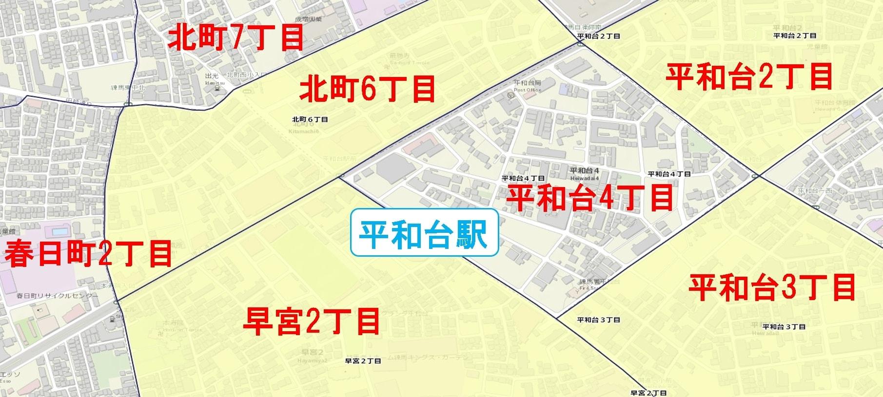 平和台駅周辺の粗暴犯の犯罪件数マップ