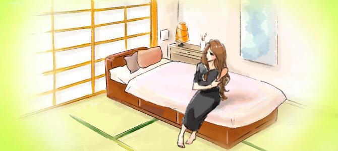 和室のベッドに座っている女性のイラスト