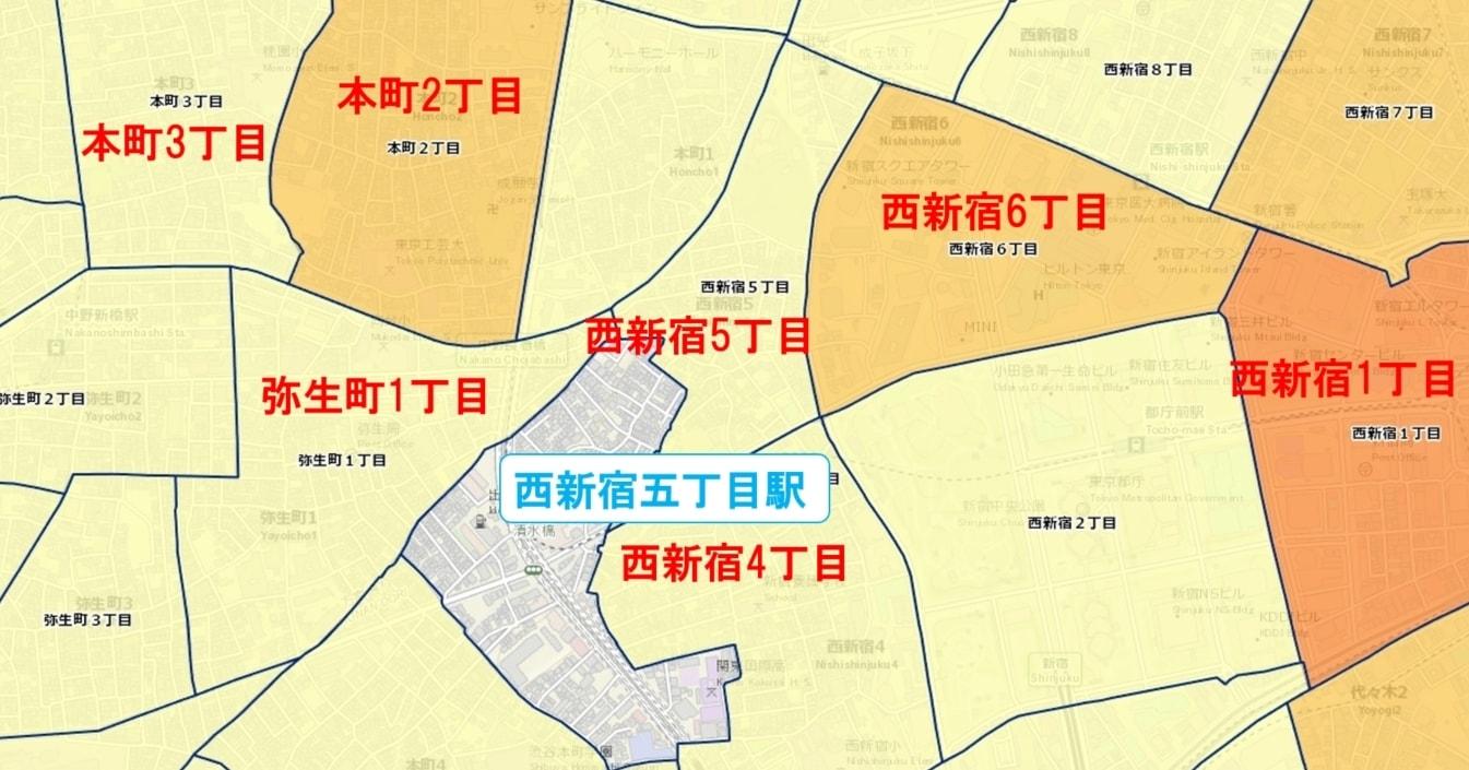 西新宿五丁目駅周辺の粗暴犯の犯罪件数マップ