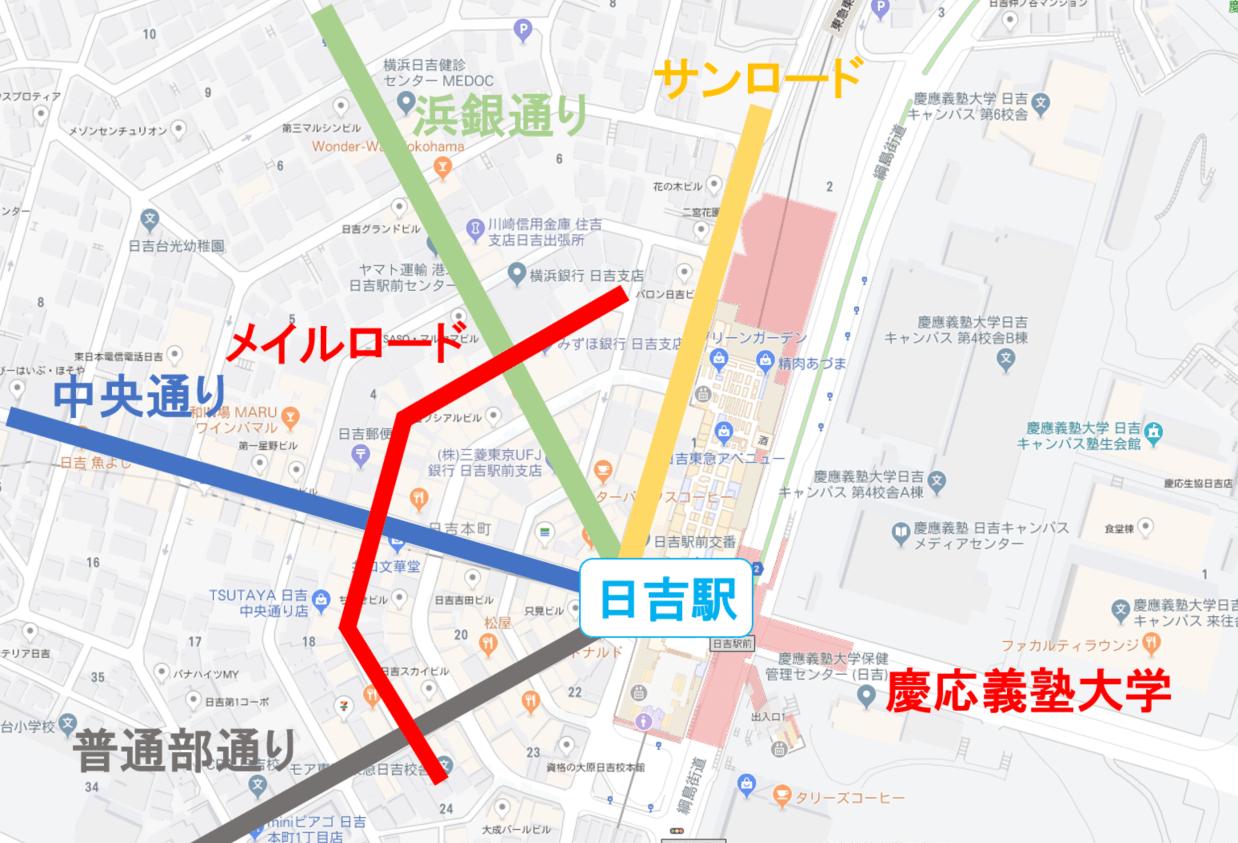 日吉商店街の地図