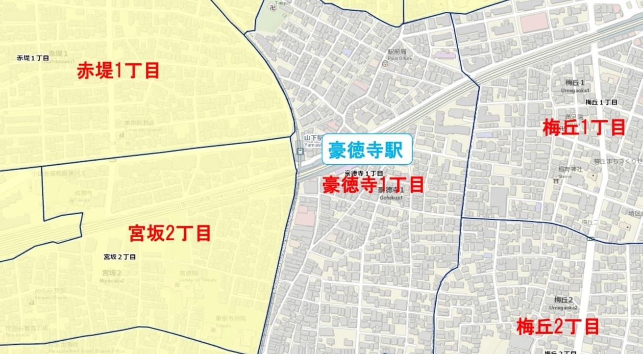 豪徳寺駅周辺の粗暴犯の犯罪件数マップ