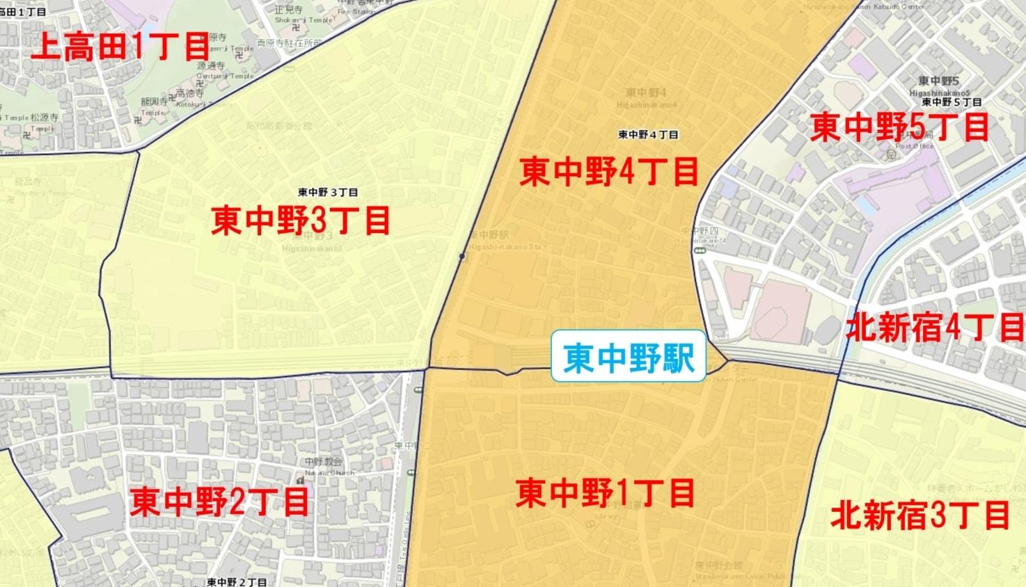東中野駅周辺の粗暴犯の犯罪件数マップ