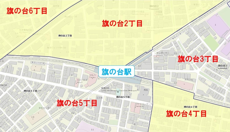 旗の台駅周辺の粗暴犯の犯罪件数マップ