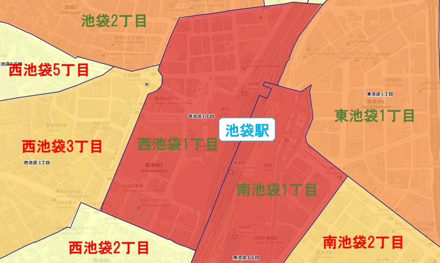 池袋駅周辺の粗暴犯の犯罪件数マップ