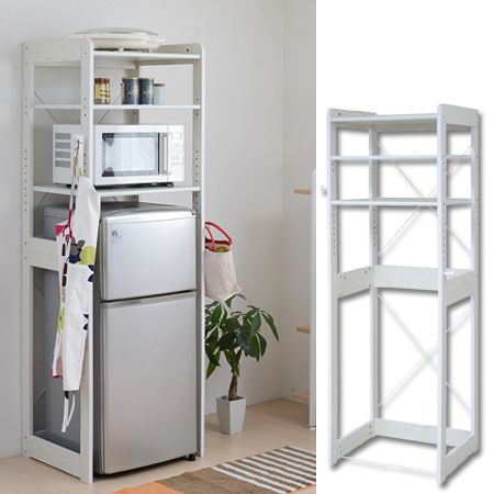冷蔵庫上のラックを使った収納