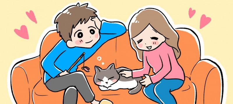 同棲中にペットを飼うイメージイラスト