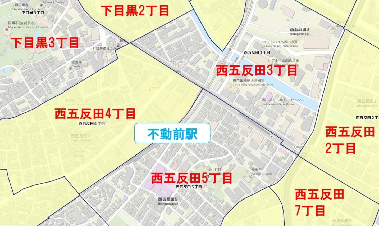 不動前駅周辺の粗暴犯の犯罪件数マップ
