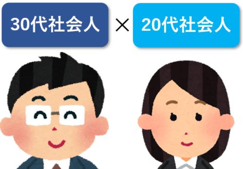 30代社会人×20代社会人のイラスト