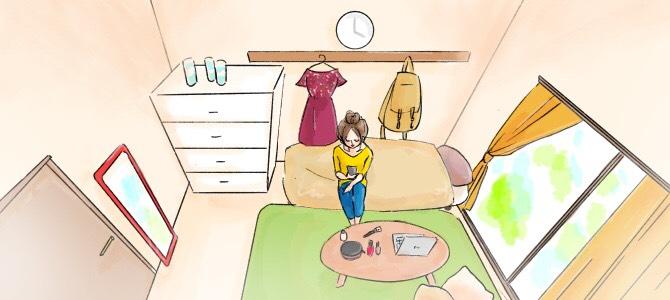 5畳のお部屋のレイアウトイラスト