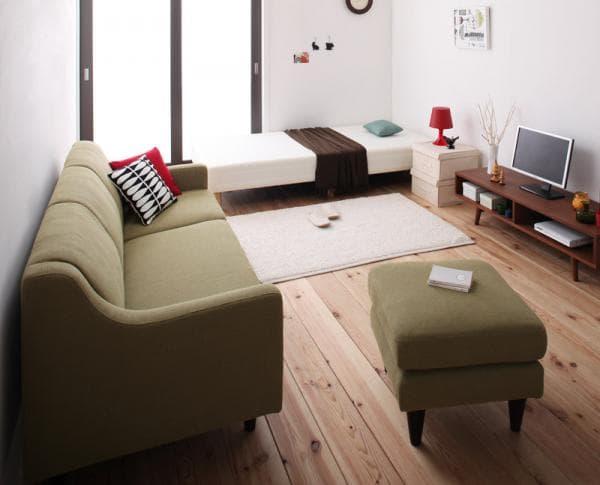 ベッドを小さくしてソファーを置くレイアウト