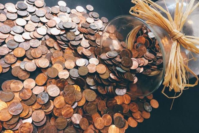 大量の海外のコイン