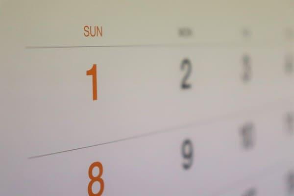 カレンダーの日曜日
