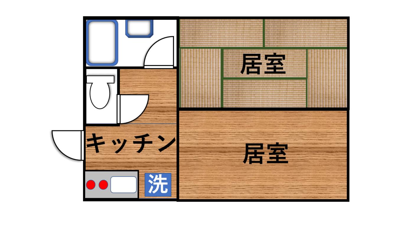 2部屋にキッチンが繋がっているタイプの2K