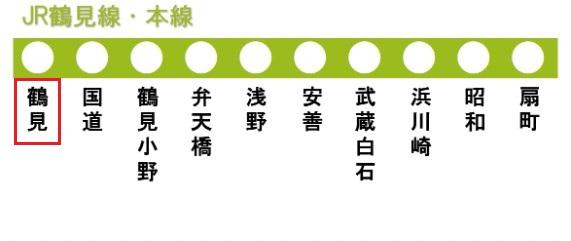JR鶴見線本線の路線図(鶴見駅)
