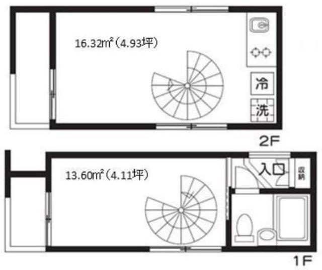 2階にキッチンのあるメゾネットの間取り図
