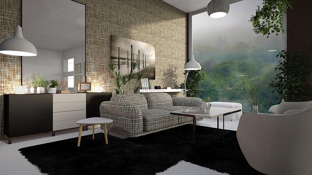 白と茶を基調とした部屋