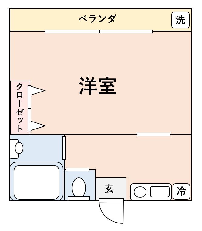 1Kでお部屋が正方形になっている間取り