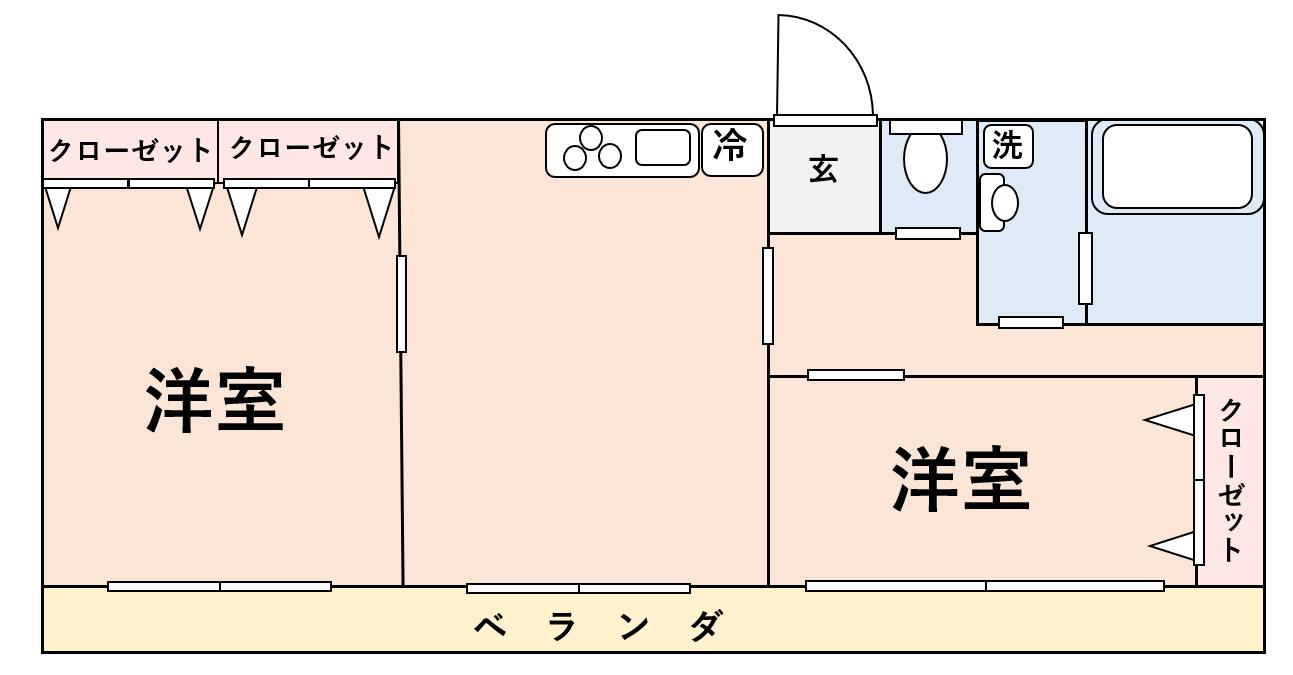 真ん中にキッチンがある間取りの2LDK