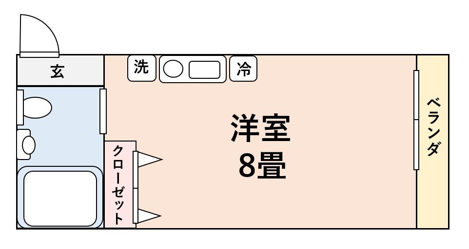 ワンルームの図面の表記例