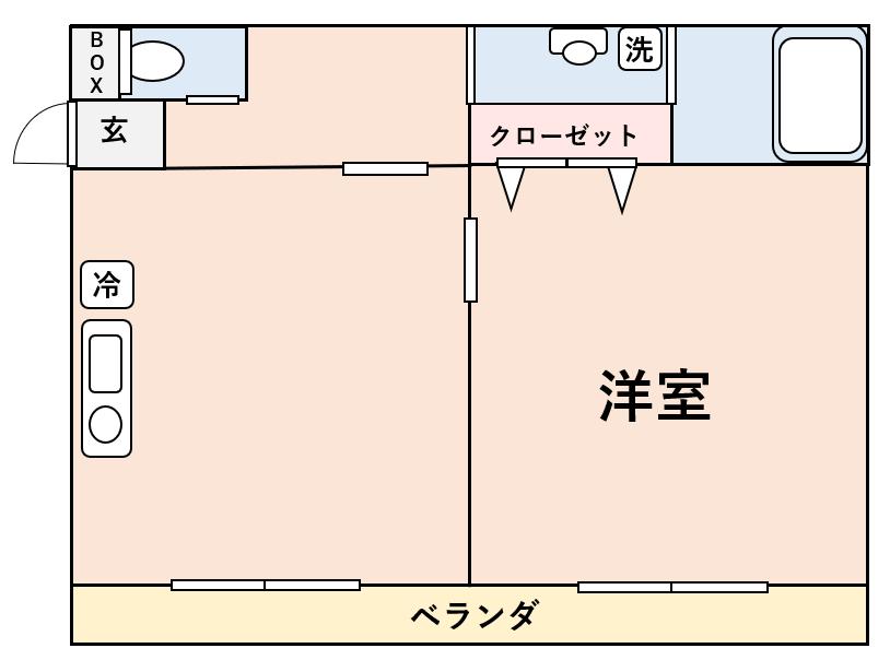 バルコニーが居室とキッチンの両方に面している1DK