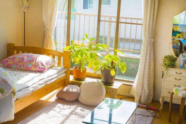 窓から光が入る女子部屋