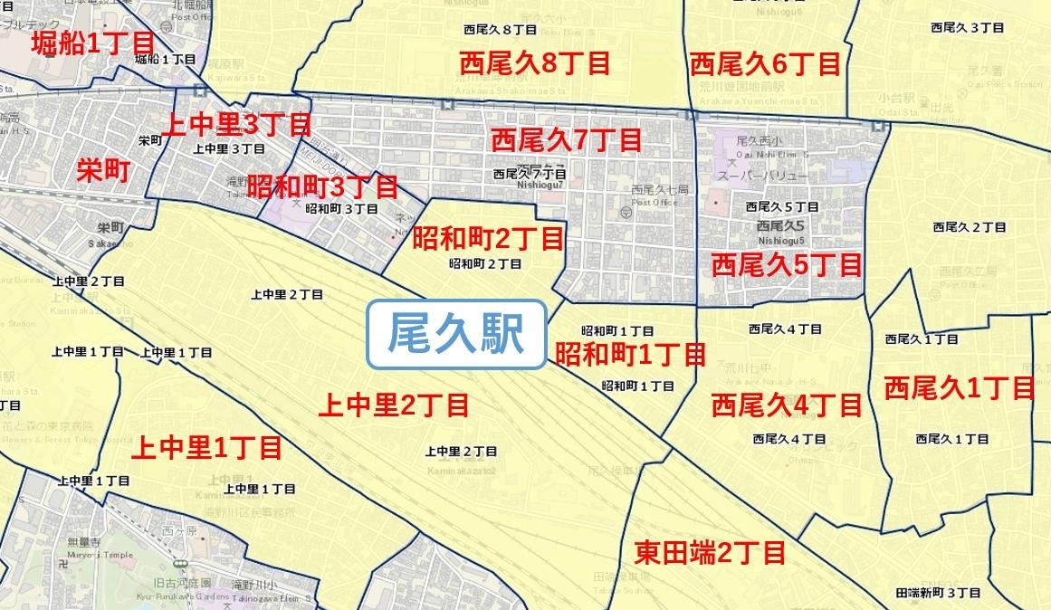 尾久駅周辺の粗暴犯の犯罪件数マップ