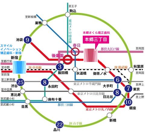 本郷三丁目駅路線図