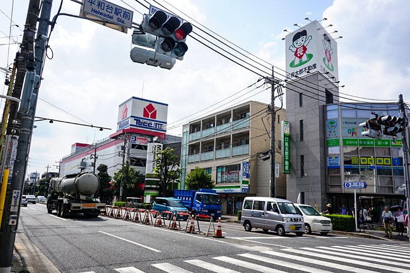 平和代駅前の道路