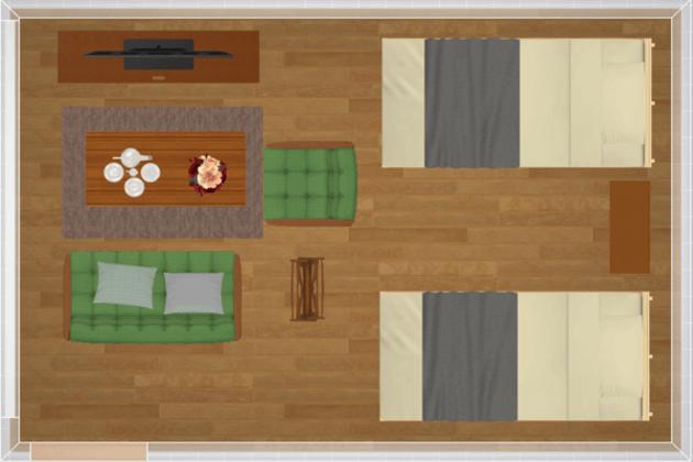 シングルベッドを置いた同棲向けレイアウト