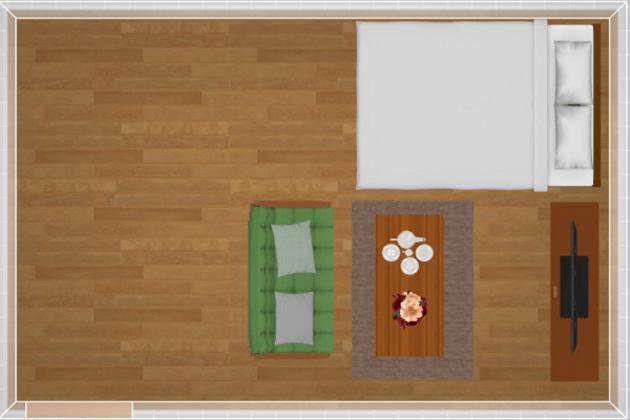 10畳にセミダブルベッドを配置したレイアウト