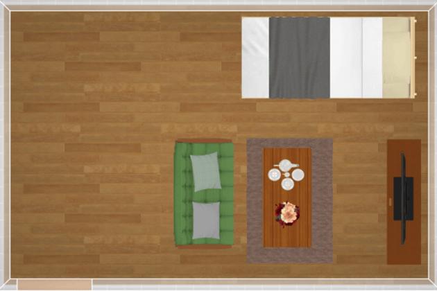 10畳にシングルベッドを配置したレイアウト