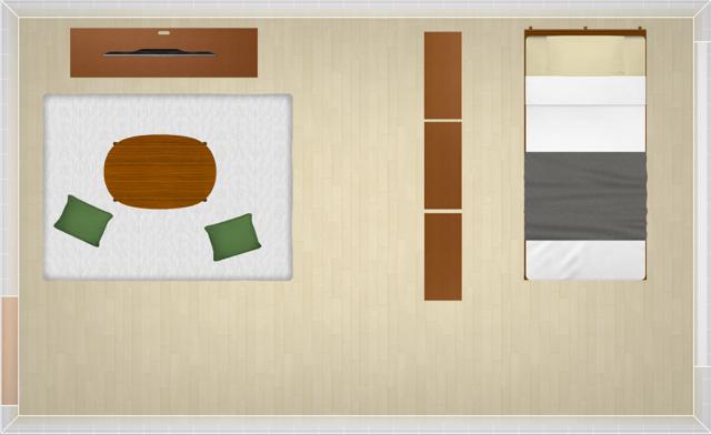 生活空間と寝室を半分に分けたレイアウト