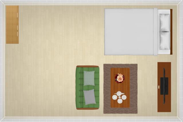 11畳にセミダブルベッドを配置したレイアウト